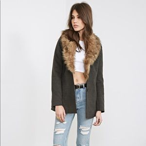 FOREVER 21 NWT Charcoal Heather Coat with Fur